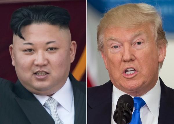 美國總統川普(右)與北韓領導人金正恩(左)。(法新社)
