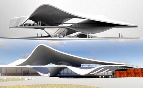 永安漁港未來新地標「海螺」(下)與英國東倫敦大學在IG上的設計圖(上)相似度極高。(合成圖)