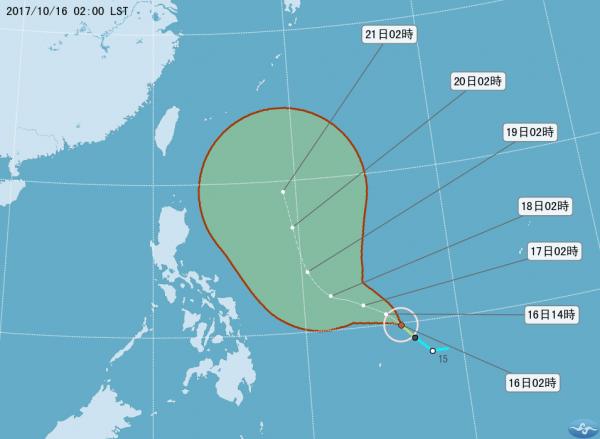 今年第21號颱風「蘭恩」已於今(16)日凌晨3時15分(台灣時間)正式生成。(圖片擷取自中央氣象局)