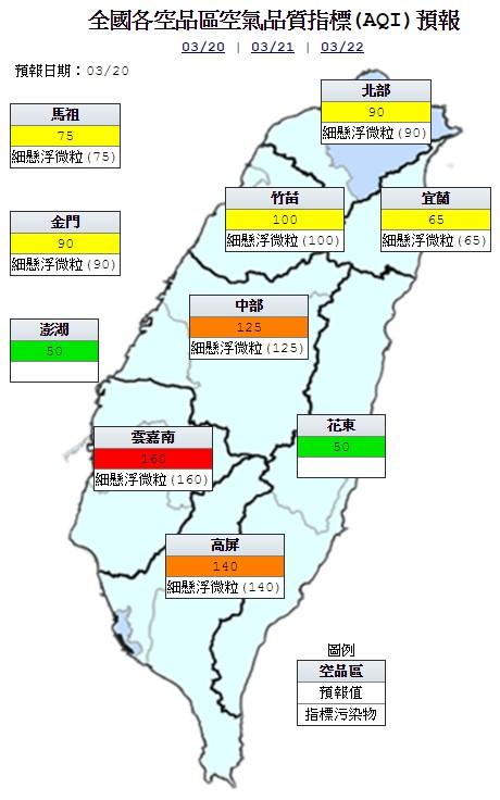 今天雲嘉南地區為紅色警示(對所有族群不健康),中部及高屏地區為橘色提醒(對敏感族群不健康),其他地區為良好到普通等級。(圖片取自環保署空氣品質監測網)