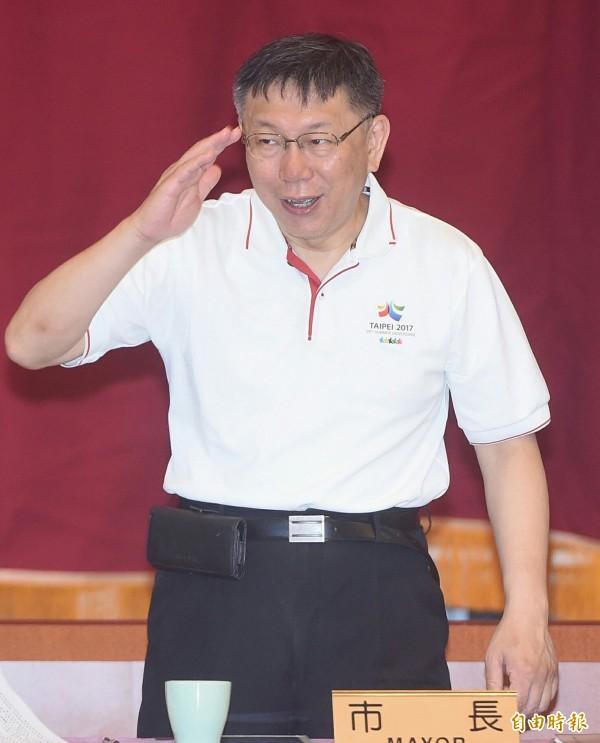 台北市長柯文哲今早出席大安區行動市政會議時指出,特赦也不是完全沒有配套,重要是把事情做一個結束;也不會說「1、2、3」就特赦。(記者廖振輝攝)
