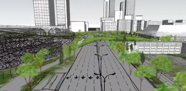 平台將蓋在忠孝東路上方。(圖擷自YouTube)