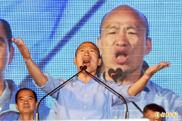 準高雄市長韓國瑜網路聲量開始急速下墜,還沒上任蜜月期幾乎就結束了。(資料照)