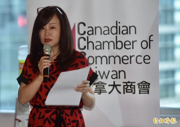 加拿大駐台北貿易辦事處7日舉行加拿大國慶節記者會,加拿大航空台灣區總經理陳美至出席致詞。(記者簡榮豐攝)