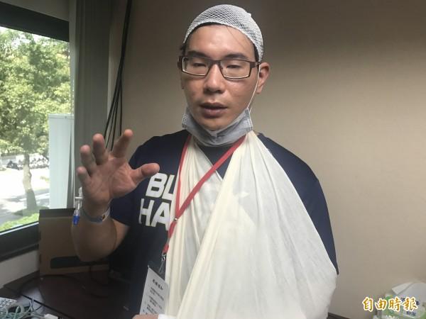 被打受傷的台大歷史系學生張耿維。(資料照)