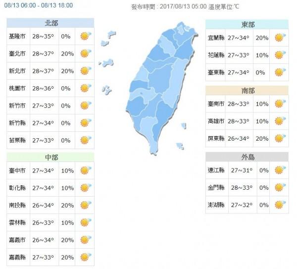 今全台天氣概況。(圖取自氣象局)