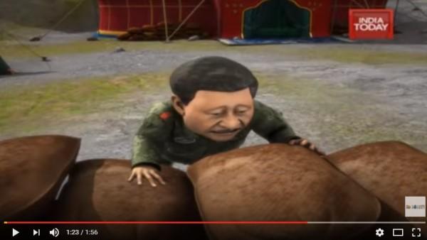 習近平在影片內看起來相當懊惱。(圖擷取自YouTube)