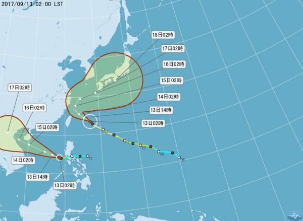 颱風泰利路徑圖。(圖取自氣象局)
