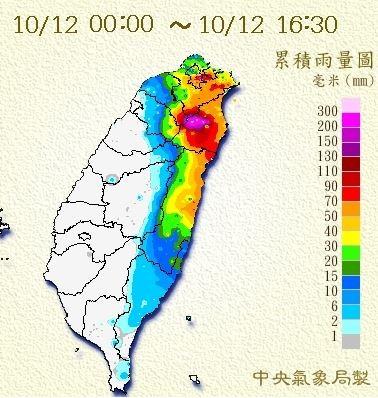 截自目前為止,日累積雨量排行榜全被宜蘭縣大同鄉包辦,可見雨量之驚人。(圖擷取自中央氣象局+)