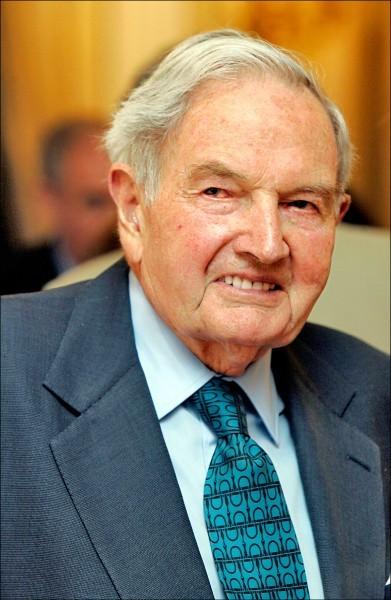 美國「摩根大通」集團前執行長暨慈善家大衛.洛克斐勒(David Rockefeller)。(美聯社檔案照)