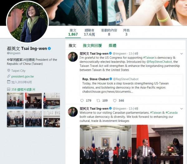 美國眾議院於美東時間9日一致通過「台灣旅行法」,總統蔡英文也在昨晚於推特發文感謝美國眾院支持台灣的民主及政府。(圖取自蔡英文推特)