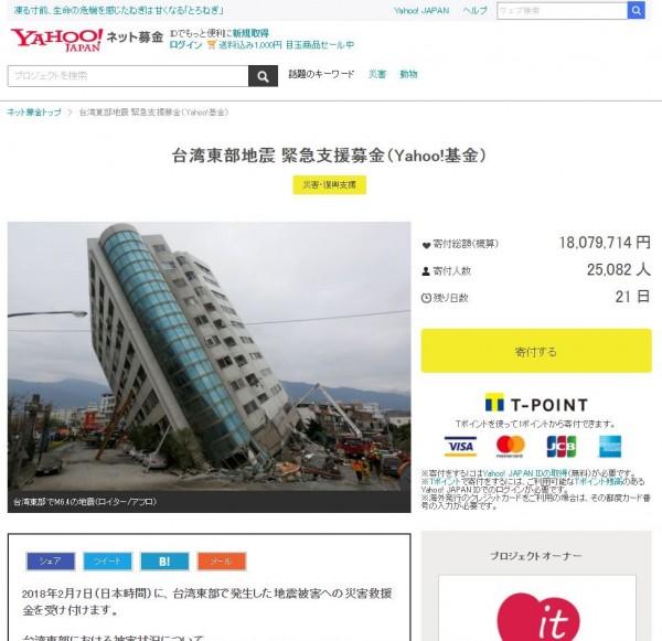 雅虎日本已為花蓮強震開設募捐專頁,超過2萬人慷慨解囊。(圖擷取自雅虎日本)
