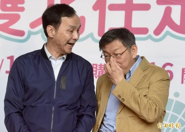 台北市長柯文哲(右)頻訪綠營大老摸頭?  新北市長朱立倫說(左):不用拜訪我。(記者簡榮豐攝)