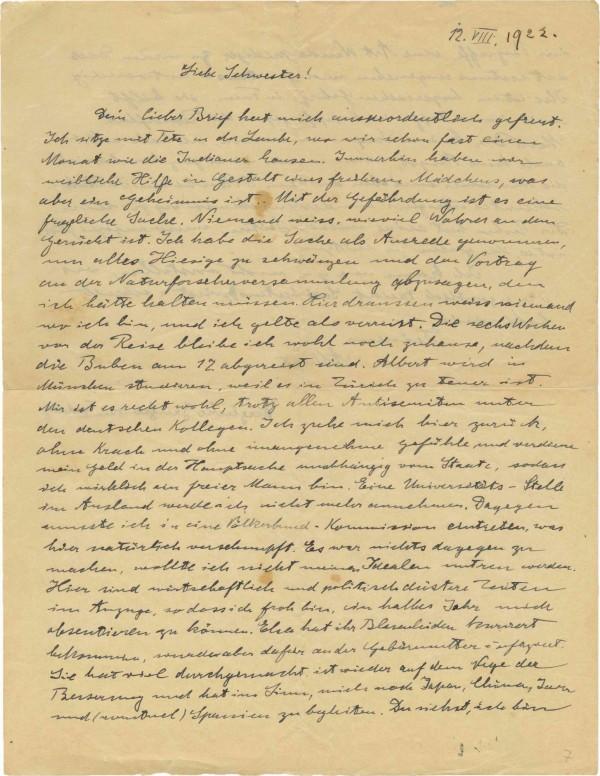 以色列的肯達拍賣行(Kedem)公開了愛因斯坦1922年捎給妹妹的親筆信。(美聯社)