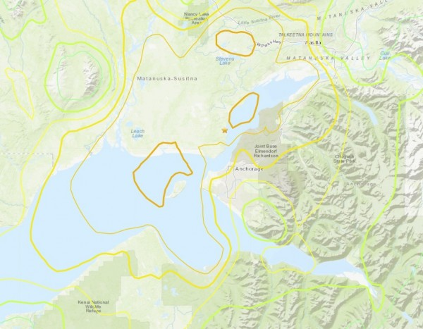 阿拉斯加今天凌晨發生規模7.0強震。(圖擷自USGS)