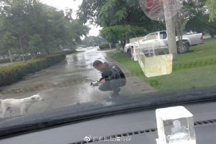 警察關心小狗傷勢。(圖取自星暹傳媒微博)