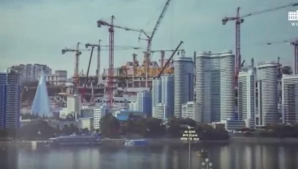 川普送給北韓的演片展示,北韓未來繁榮的景象。(圖擷自YouTube)