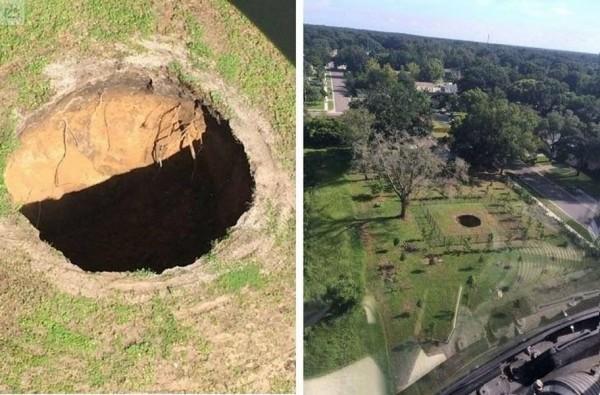 美國佛州又現巨大坑洞,相同位置2年前曾吞噬一名男子布許(Jeremy Bush)。