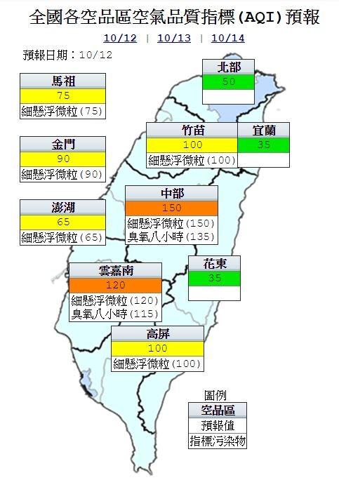 明日雲嘉南地區為橘色提醒,其他地區及外島為良好至普通等級,指標污染物為細懸浮微粒。(圖擷自行政院環保署官網)