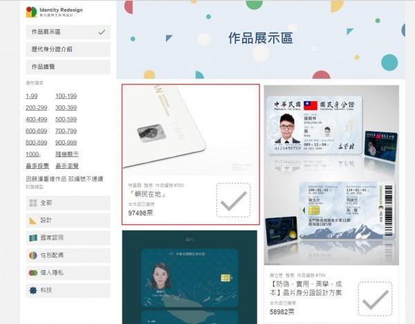 設計師林昊翰的作品「嶼民在地」(紅框處)以近10萬票奪下人氣獎。(圖擷取自身分證明文件再設計網站)