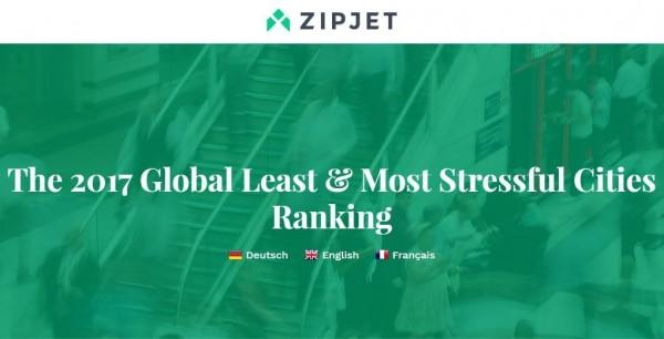 英國乾洗公司Zipjet近日在官方網站上公布了「2017年全球壓力最小及最大城市排行榜」。(圖取自Zipjet官網)