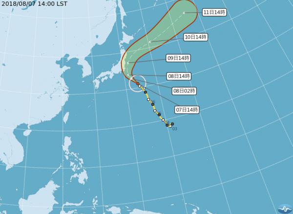 目前第13號颱風「珊珊」的外圍雲系,預計將在8月8日晚間觸碰到日本的關東地區。(圖擷取自中央氣象局)