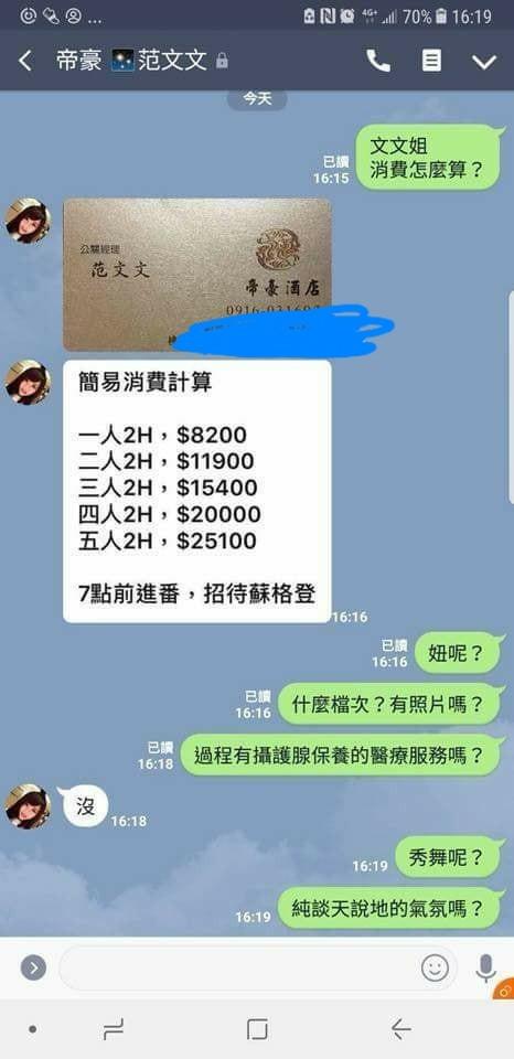 網友詢問酒店消費價格,文文親自回覆,不過不少網友嫌太貴。(圖取自爆廢公社臉書)