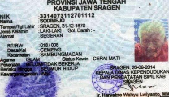 印尼長壽人瑞葛多(Mbah Gotho),在官方文件上的生出日期是1870年12月31日,他現在已經145歲了。(圖擷自《鏡報》)