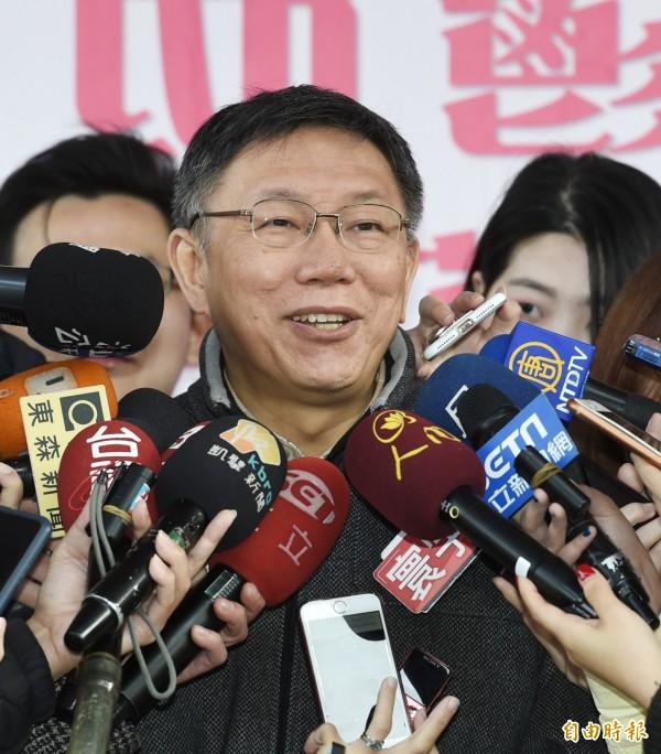 2018士林官邸鬱金香展即日起展出,台北市長柯文哲13日為展覽主持開幕儀式,並參觀花展。(記者方賓照攝)
