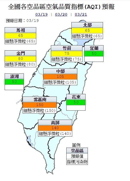 今天中部、雲嘉南及高屏地區為橘色提醒,其他地區為良好到普通等級,指標污染物為細懸浮微粒。(圖片取自環保署空氣品質監測網)
