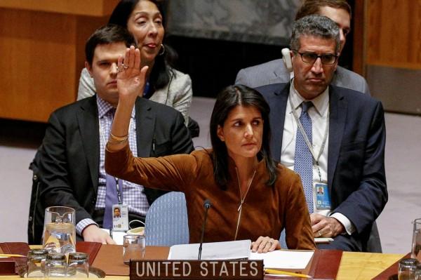 美國駐聯合國大使海莉(Nikki Haley)對俄羅斯行使否決權怒不可遏,痛批:「真是可恥」!(路透)