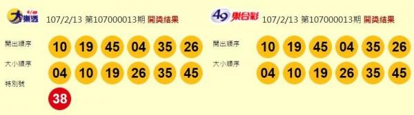 大樂透、49樂合彩開獎獎號。(圖擷取自台灣彩券官網)