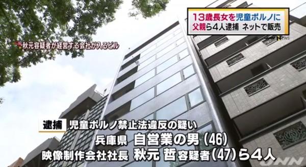 日本兵庫縣一名父親為了賺錢,強迫自己的8歲女兒下海當AV女優,直到13歲才被警察查獲。(圖擷取自日本新聞網)