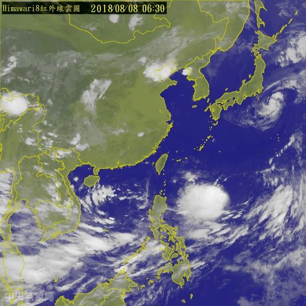 位於菲律賓東方海面的熱帶性低氣壓,最快今天增強為「摩羯」颱風。(圖擷取自中央氣象局)