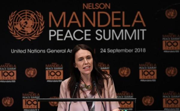 阿爾登在和平高峰會上發表演說。(法新社)