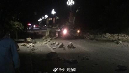 中國四川九寨溝8日晚間9時19分,發生規模7.0地震、深度20公里。(圖擷取自微博)