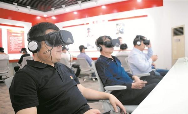 中國近日將VR虛擬實境技術運用於「檢測(共產黨員)黨性」。(圖片擷取自濱州網)