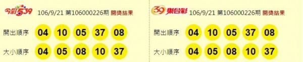 今彩539、39樂合彩開獎獎號。(圖擷取自東森財經新聞)