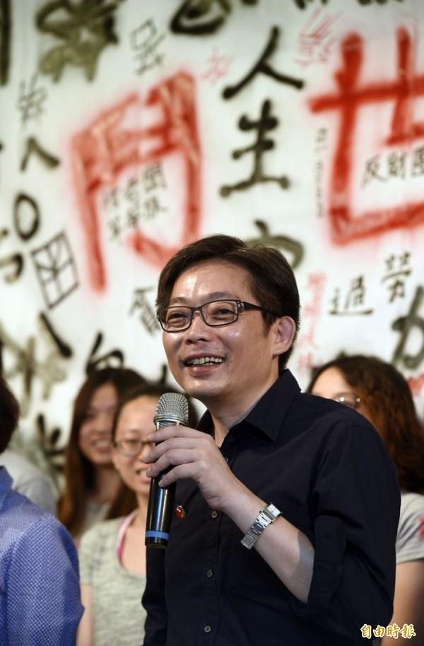 社會民主黨宣布,將由中正大學政治系助理教授陳尚志代表參選台北市港湖區立委。(記者叢昌瑾攝)