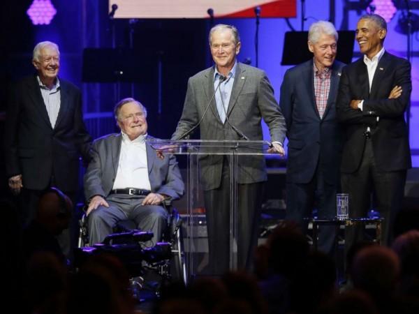 美國五位卸任總統合影。(資料照,美聯社)