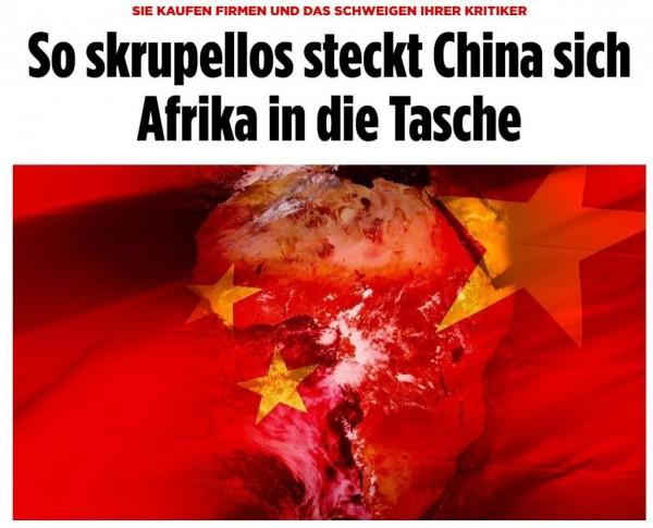 德國最大報紙最近報導,痛批中國如此肆無忌憚地將非洲置於囊中,並附上一張中國五星旗覆蓋非洲大陸的插圖。(圖擷取自《圖片報》)