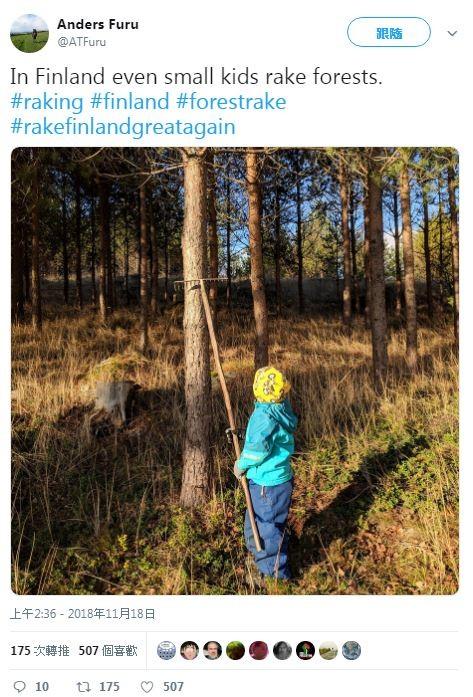 網友在推特PO照片嘲諷川普,戲稱在芬蘭連小孩也要「耙理森林」。(圖片擷取自推特)