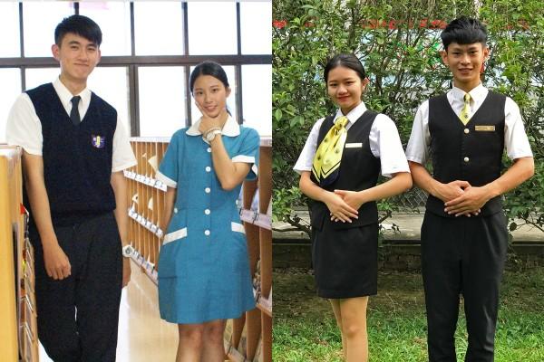 左為護理科科服,女生靛青色連身洋裝,很有朝氣;右為餐飲管理科科服,取紳士淑女服務紳士淑女概念。(崇仁醫專提供,本報合成)