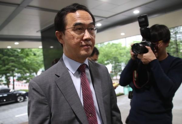 趙明均接受媒體訪問時表示,為落實《板門店宣言》,南韓會繼續努力。(歐新社)