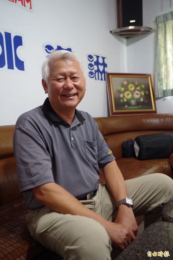 新港鄉蔬菜產銷班第52班長吳石城說,甜椒冰淇淋讓甜椒多了生產價值。(記者王善嬿攝)