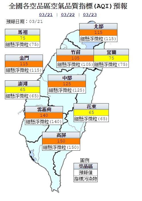 今天金門及西半部地區多為橘色提醒,東半部及馬祖、澎湖地區為普通等級。(圖片取自環保署空氣品質監測網)