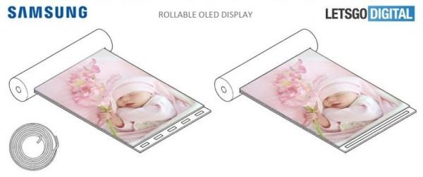 南韓手機大廠三星(Samsung)近日傳出申請了1款新專利─透過指紋感應就可以攤開的可捲曲螢幕,捲起來的大小和形狀就像是1支唇膏。(圖翻攝自LetsGoDigital)