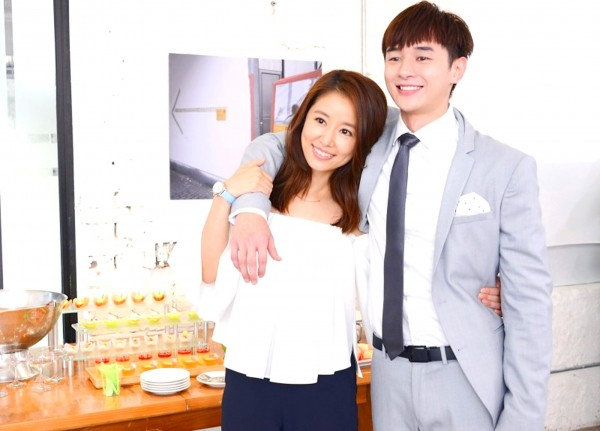Actress Ruby Lin, left, and actor Derek Chang of the drama series My Dear Boy pose at a publicity event in an undated photograph. Photo courtesy of GTV