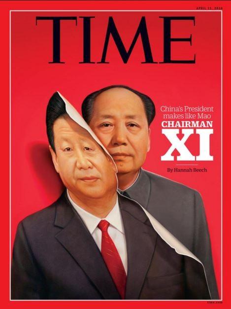 最新一期的《時代》(TIME)雜誌亞洲版,封面相片就是一張「中國國家主席習近平變成毛澤東」。(圖取自推特)