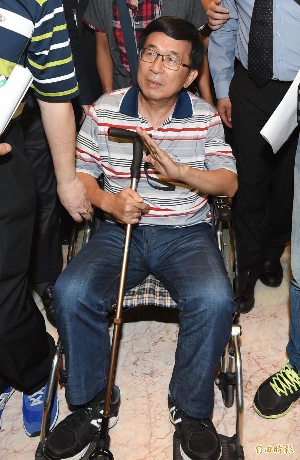 前總統陳水扁申請出席參加凱達格蘭基金會今下午在台北舉辦的餐會,台中監獄有「五不」的但書。(資料照,記者廖振輝攝)